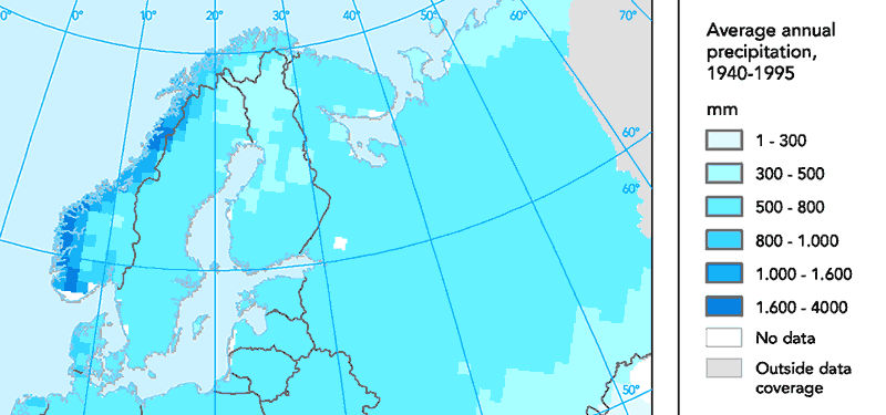 scandinavia precipitation map