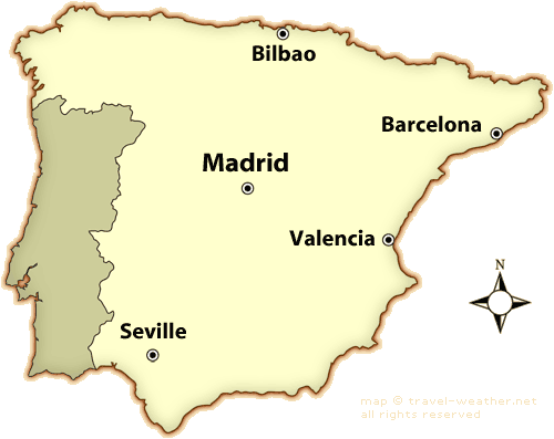 map of france and spain with cities. Spain Weather Map